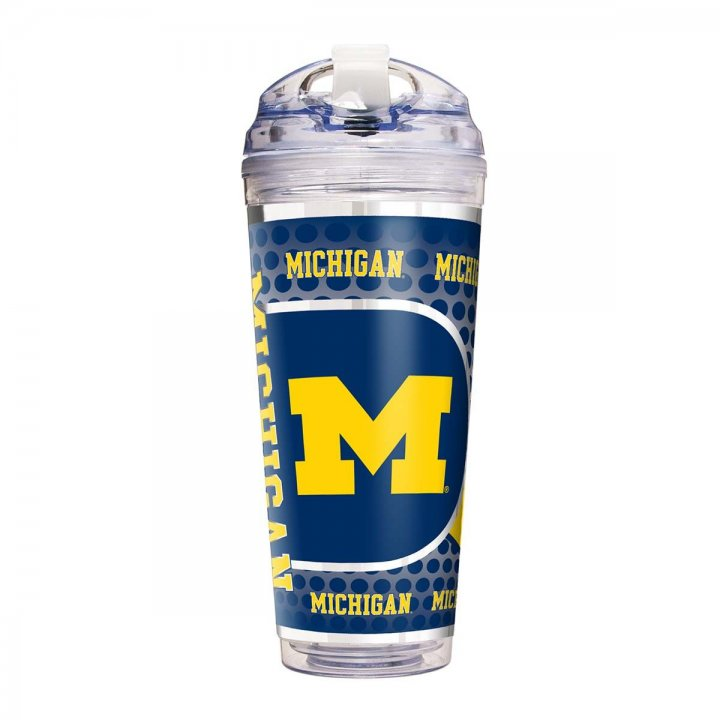 Michigan Wolverines NCAA Michigan Wolverines 24 oz Double Wall Acrylic Travel Tumbler with Metallic Graphics (Clear)