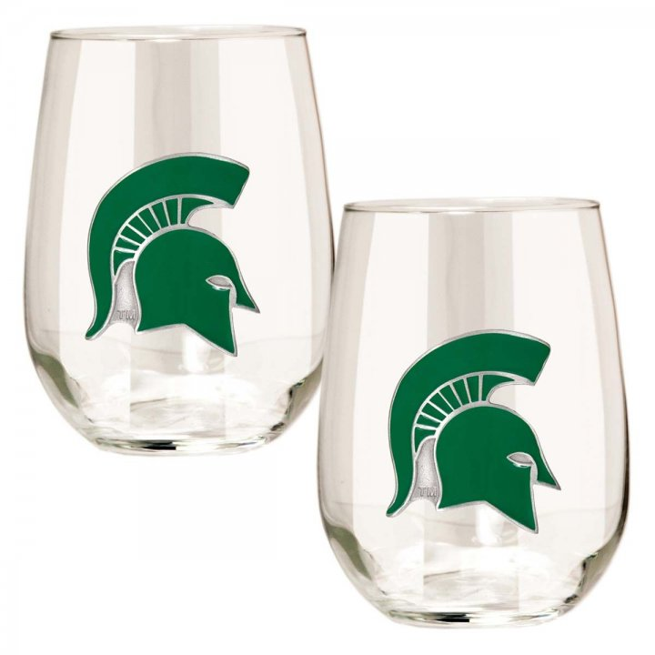 Michigan State Spartans NCAA 2 Piece Stemless Wine Glass Set (Clear)