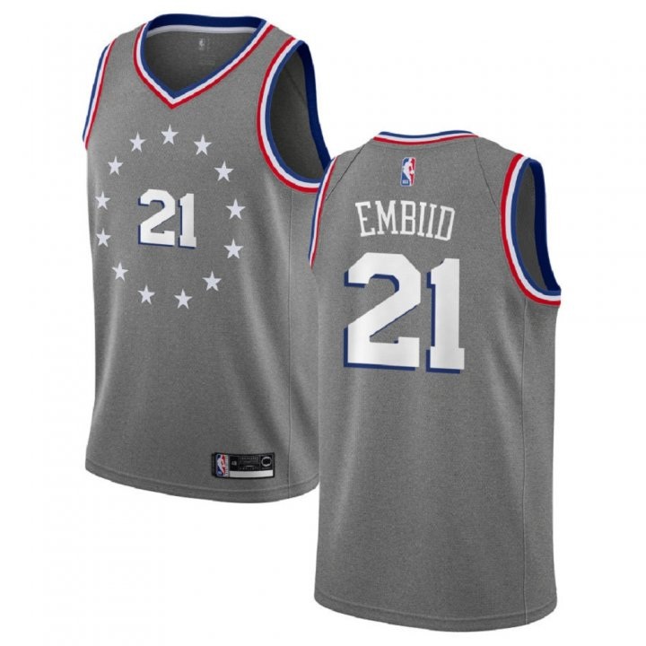Majestic Athletic Joel Embiid #21 Philadelphia 76ers 2018-19 Swingman Men's Charcoa Jersey