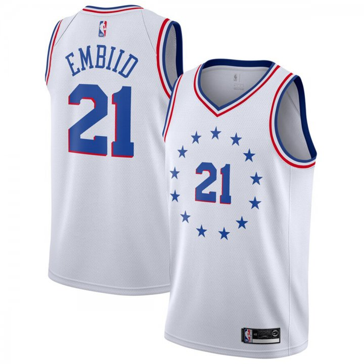 Franklin Sports Joel Embiid #21 Philadelphia 76ers 2018-19 Swingman Men's Jersey White
