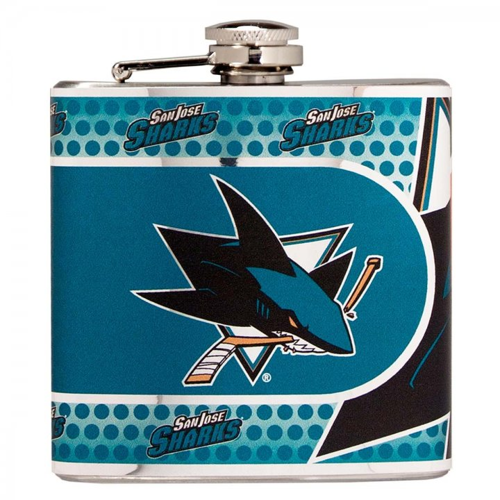 San Jose Sharks 6 oz Stainless Steel Hip Flask with Metallic Graphics (Silver)