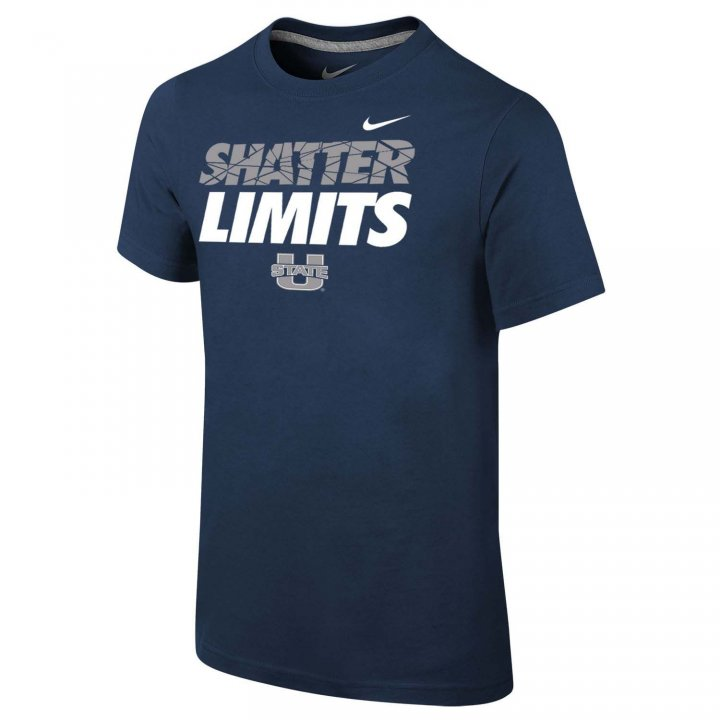 Utah State Aggies Youth Shatter Limits T-Shirt (Navy)