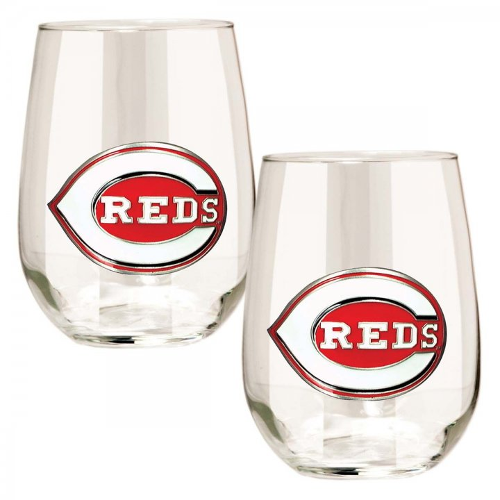 Cincinnati Reds MLB 2 Piece Stemless Wine Glass Set (Clear)