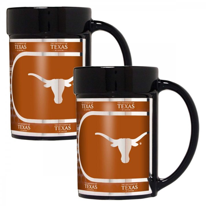 Texas Longhorns NCAA 2 Piece Coffee Mug Set with Metallic Graphics (Black)