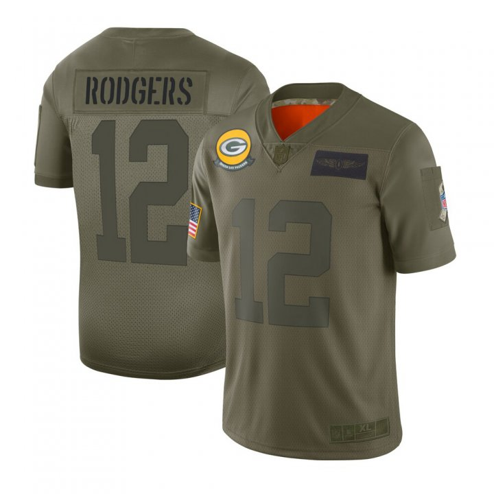 Franklin Sports Men's Aaron Rodgers #12 Green Bay Packers 2019 Salute to Service Limited Jersey - Camo