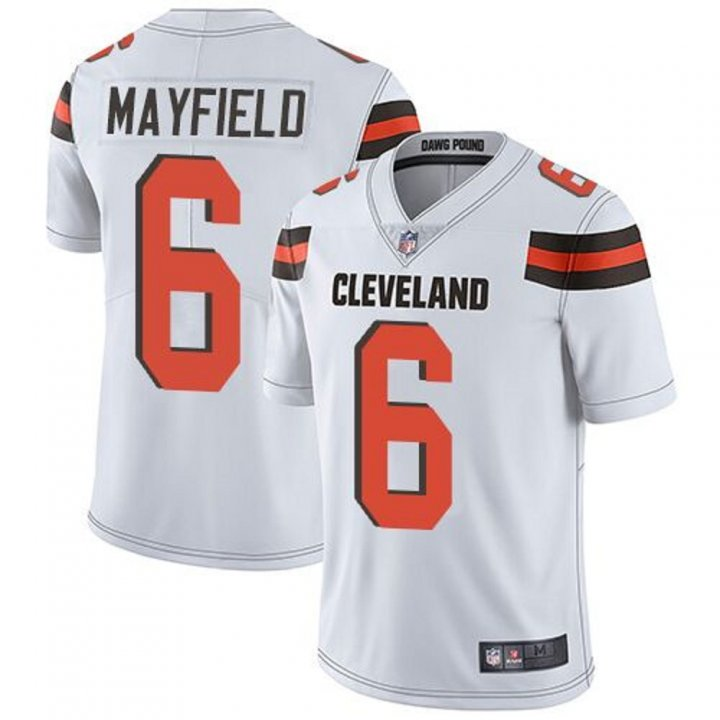 Majestic Athletic Baker Mayfield Cleveland Browns #6 Men's Game White Stitch Jersey