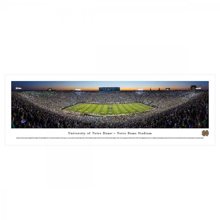 Notre Dame Fighting Irish 50 Yard Line Twilight Unframed Panorama