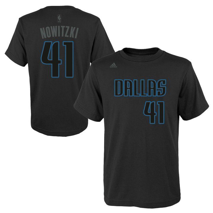 Dallas Mavericks NBA Dirk Nowitzki Youth Hyper Name & Number Tee (Black)