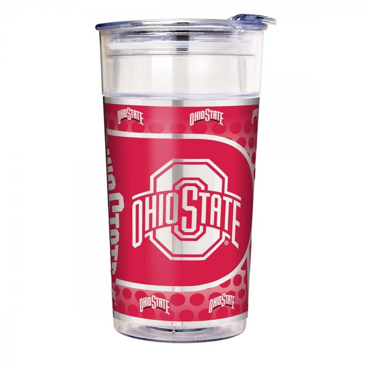 Ohio State Buckeyes NCAA Ohio State Buckeyes 22 oz Double Wall Acrylic Party Cup with Metallic Graphics (Clear)