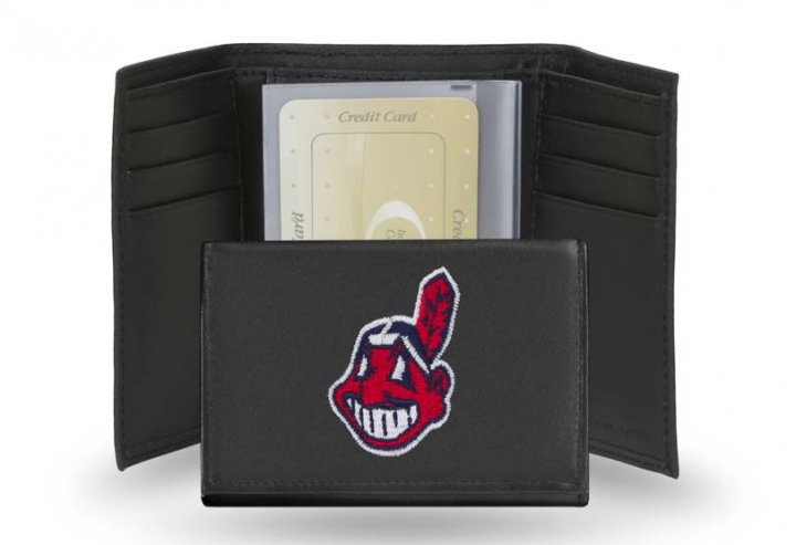 Cleveland Indians MLB Leather Trifold Wallet (Black)