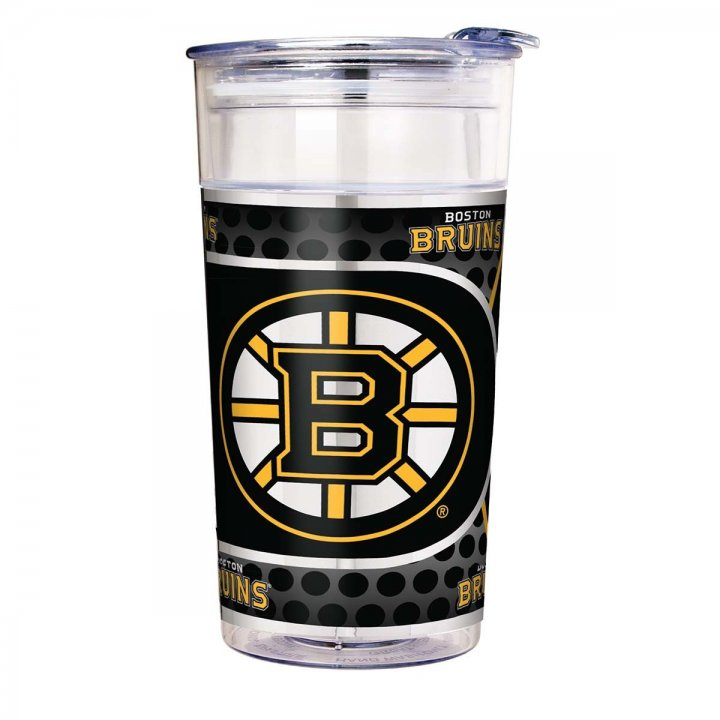 Boston Bruins NHL Boston Bruins 22 oz Double Wall Acrylic Party Cup with Metallic Graphics (Clear)