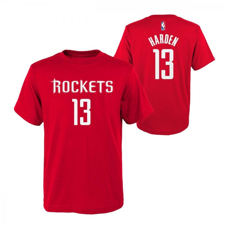 Houston Rockets NBA James Harden Youth Flat Basic Name & Number Tee (Red)