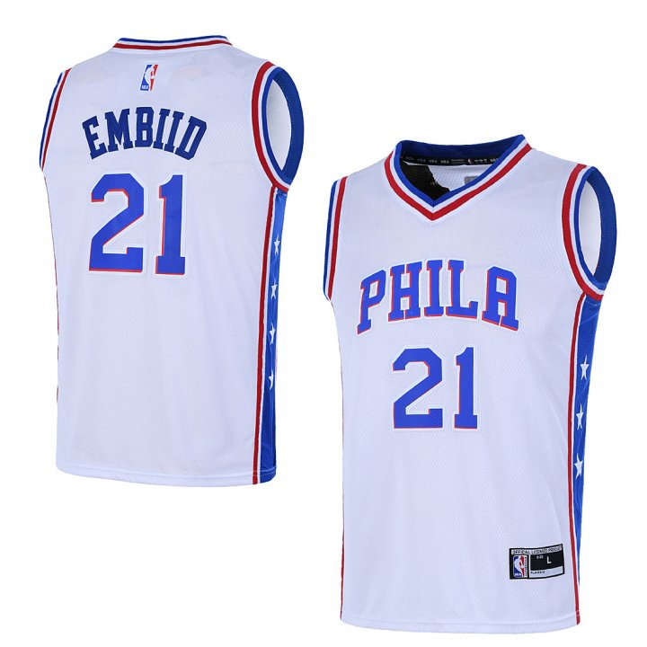 Outerstuff Youth 8-20 Philadelphia 76ers #21 Joel Embiid Jersey White