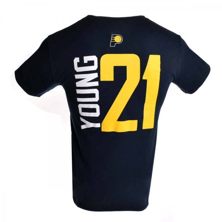 Indiana Pacers NBA Thaddeus Young Vertical Name & Number T-Shirt (Navy)