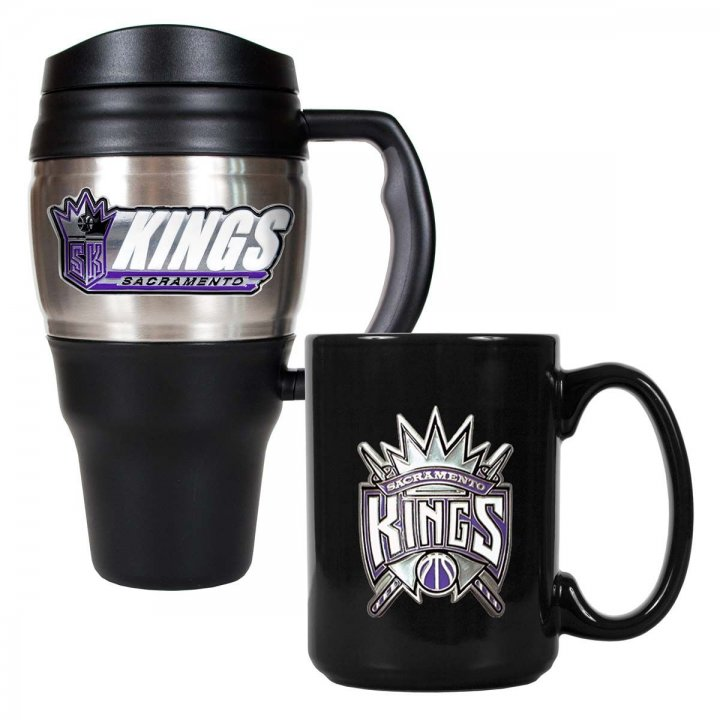Sacramento Kings NBA 20 oz Heavy Duty Travel Mug and 15 oz Ceramic Mug Set (Silver/Black)