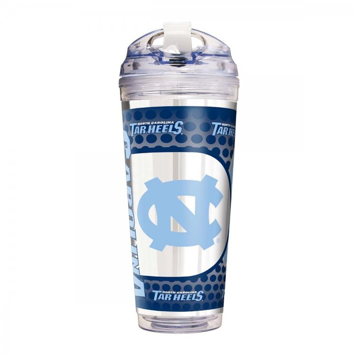 North Carolina Tar Heels NCAA North Carolina Tar Heels 24 oz Double Wall Acrylic Travel Tumbler with Metallic Graphics (Clear)
