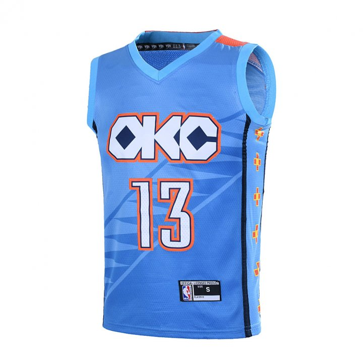 Outerstuff Youth 8-20 Paul George #13 Oklahoma City Thunder Jersey -City Edition Turquoise