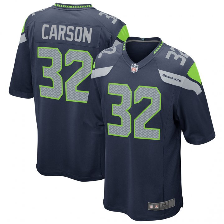 Outerstuff Youth Kids 32 Chris Carson Seattle Seahawks Jersey Navy