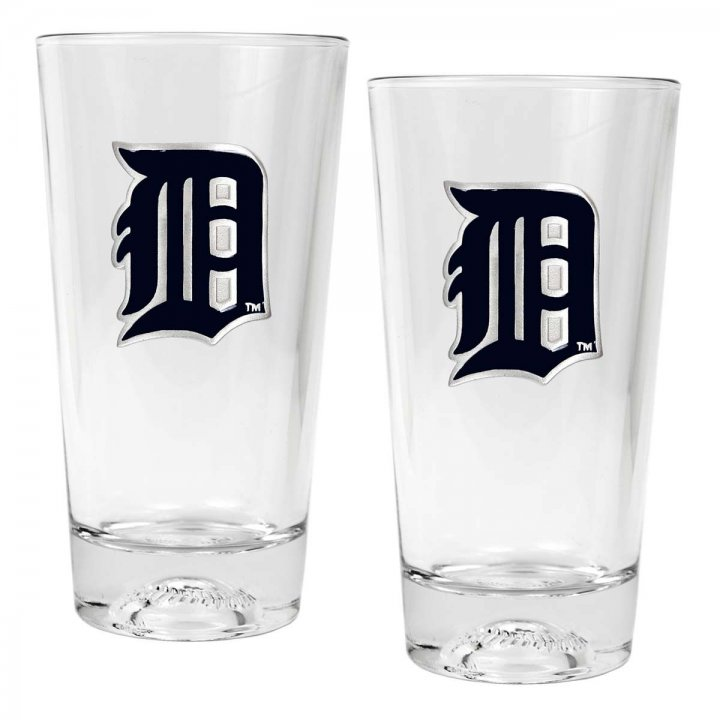 Detroit Tigers MLB 2 Piece Pint Ale Glass Set with Baseball Base (Clear)