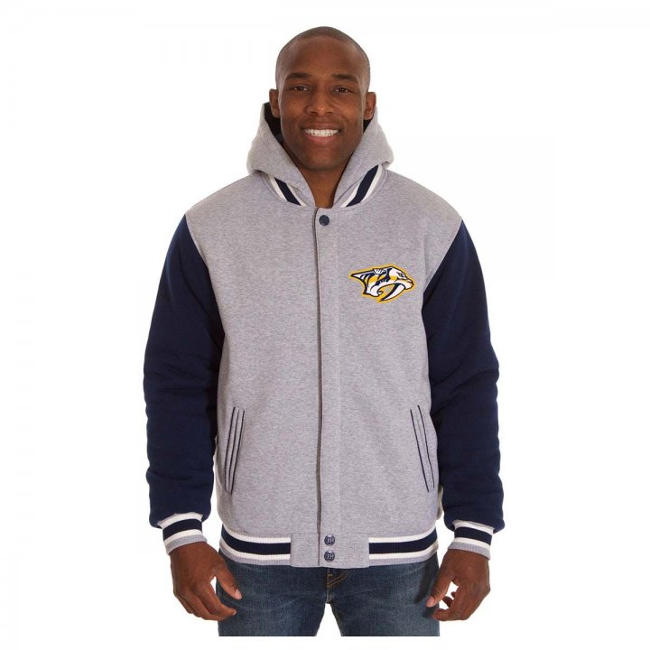 Nashville Predators Patch Program Reversible Fleece Hooded Button Snap Jacket (Navy)
