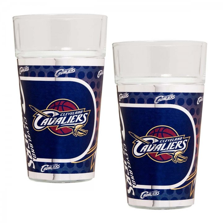 Cleveland Cavaliers NBA 2 Piece Pint Glass Set with Metallic Graphics (Clear)