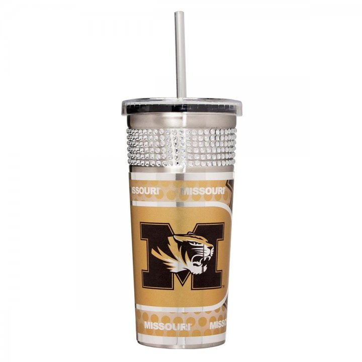 Missouri Tigers NCAA 16 oz Silver Bling Tumbler with Straw (Silver)