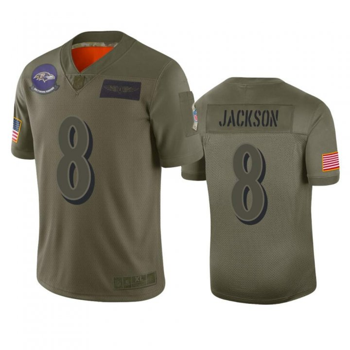 Franklin Sports Men's Pittsburgh Steelers #8 Lamar Jackson Camo 2019 Salute to Service Limited Jersey
