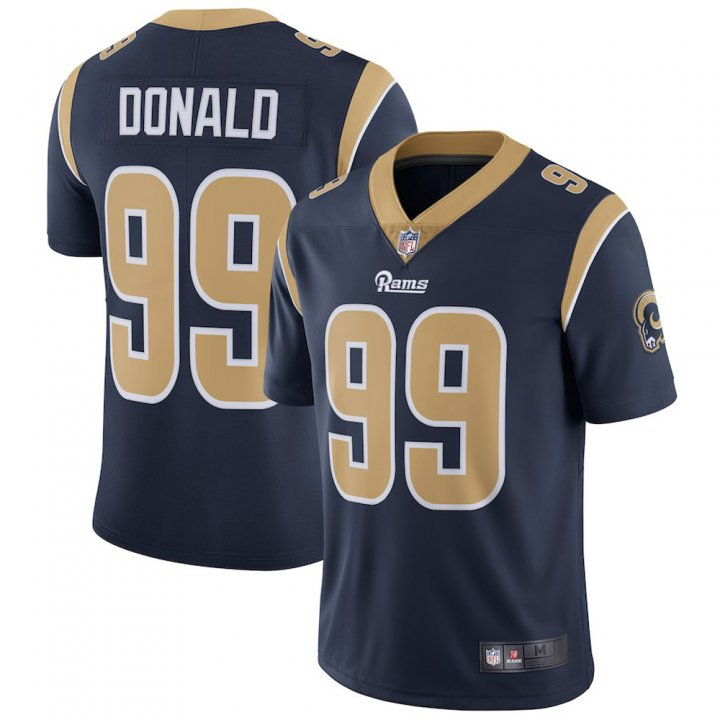 Majestic Athletic Men's Los Angeles Rams #99 Aaron Donald Navy Blue Home Limited Stitch Jersey