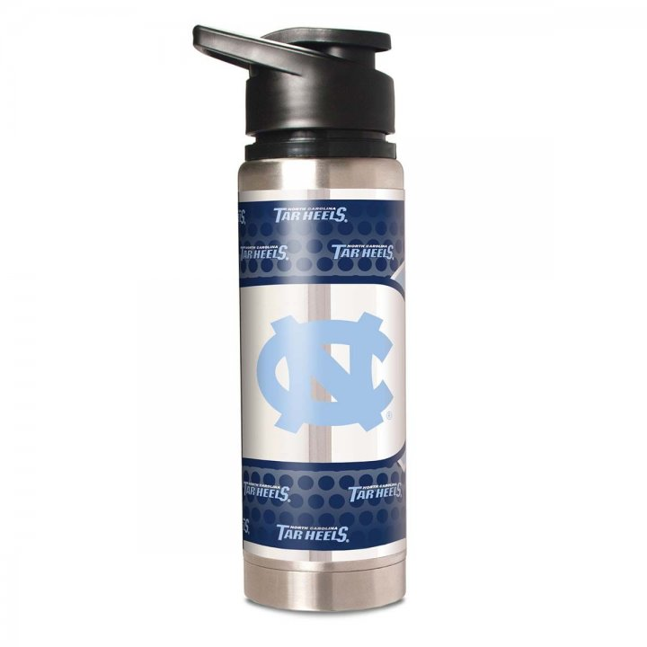 North Carolina Tar Heels NCAA 20 oz Double Wall Stainless Steel Water Bottle with Metallic Graphics (Silver)