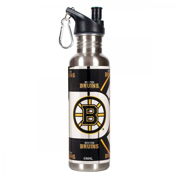 Boston Bruins NHL Boston Bruins 26 oz Stainless Steel Water Bottle with Metallic Graphics (Silver)