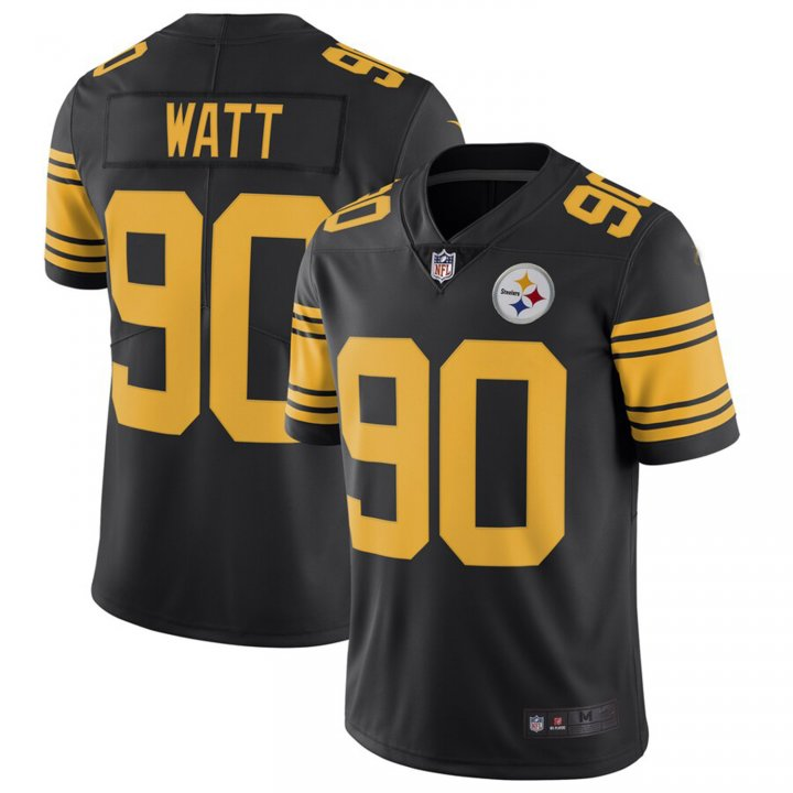 Franklin Sports Men's T.J. Watt #90 Pittsburgh Steelers Color Rush Limited Player Jersey - Black