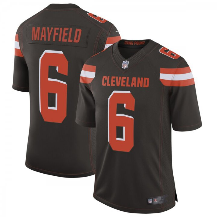 Franklin Sports Men's #6 Cleveland Browns Baker Mayfield Brown Limited Stitch Jersey