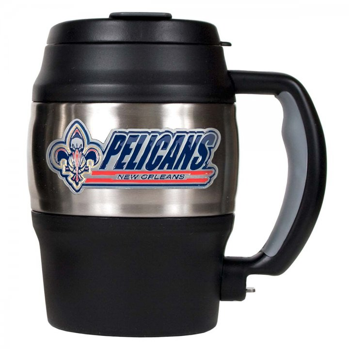 New Orleans Pelicans NBA New Orleans Pelicans 20 oz Heavy Duty Insulated Mug (Silver/Black)
