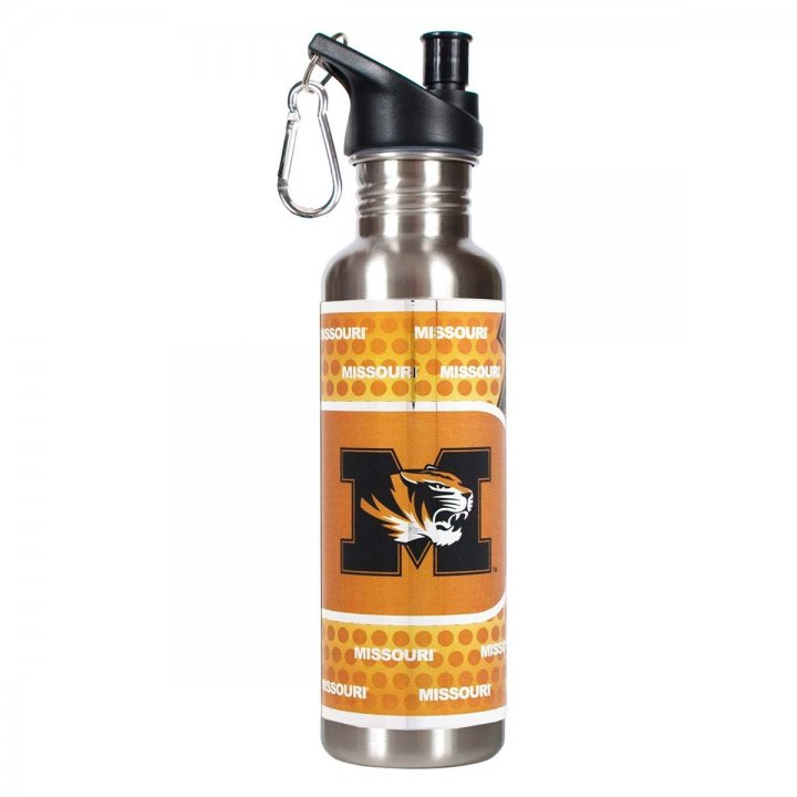 Missouri Tigers NCAA Missouri Tigers 26 oz Stainless Steel Water Bottle with Metallic Graphics (Silver)