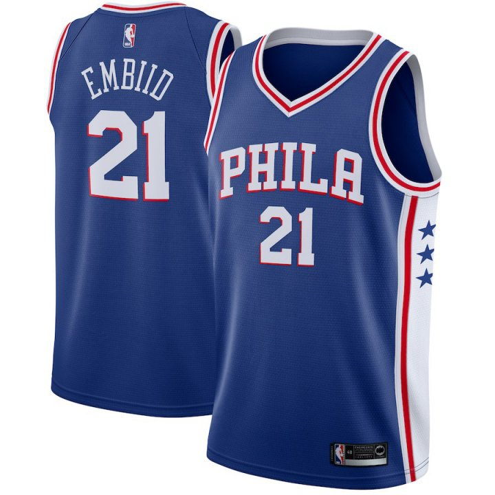 Majestic Athletic Men's Joel Embiid Philadelphia 76ers #21 Swingman Jersey Blue