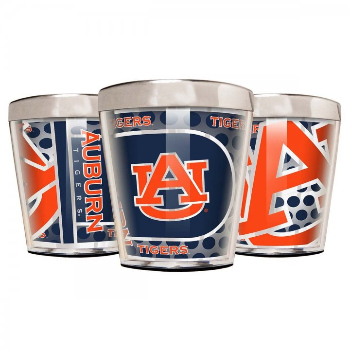 Auburn Tigers Auburn Tigers 3 Piece Stainless Steel & Acrylic Shot Glass Set with Metallic Graphics