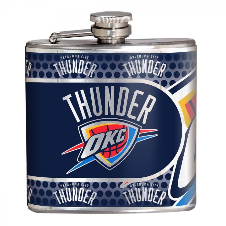 Oklahoma City Thunder NBA 6 oz Stainless Steel Hip Flask with Metallic Graphics (Silver)