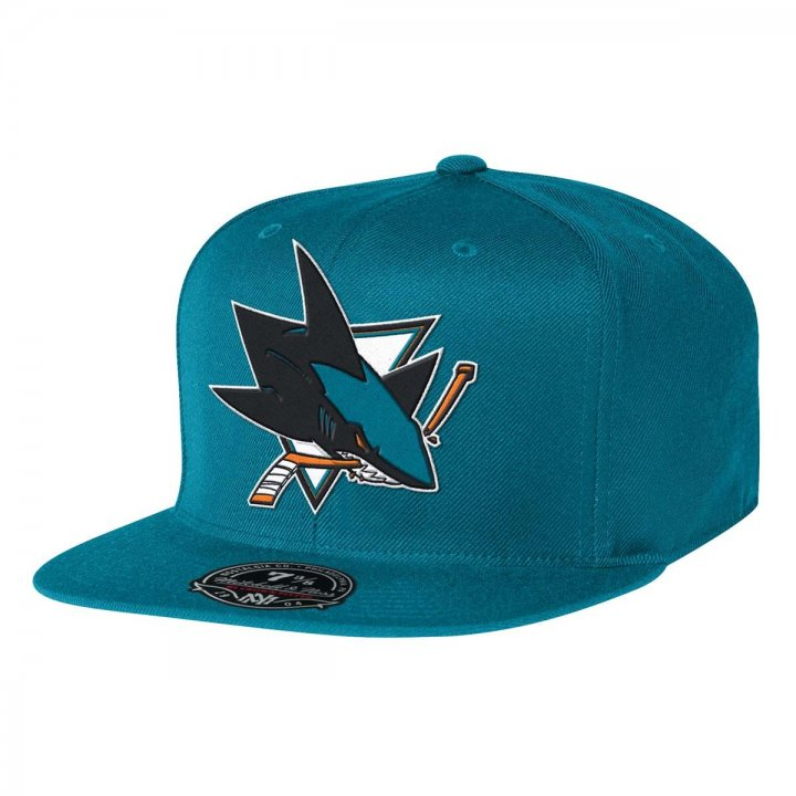 Mitchell & Ness San Jose Sharks Solid HC Fitted Hat (Teal)
