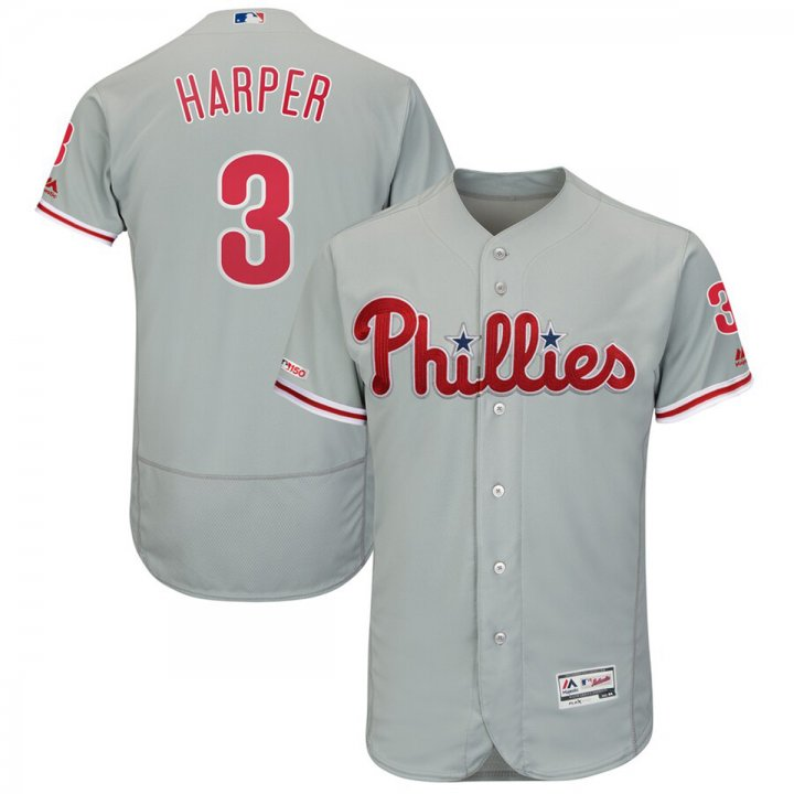 Franklin Sports Bryce Harper Philadelphia Phillies #3 Away Flex Base Authentic Collection Player Jersey Gray