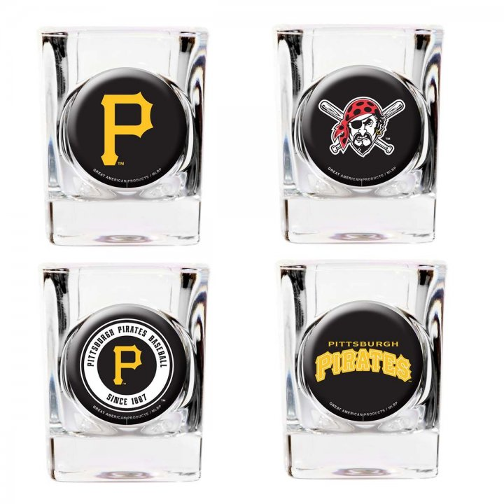 Pittsburgh Pirates MLB 4 Piece Collector's Shot Glass Set (Clear)