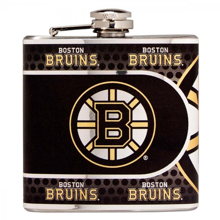 Boston Bruins 6 oz Stainless Steel Hip Flask with Metallic Graphics (Silver)