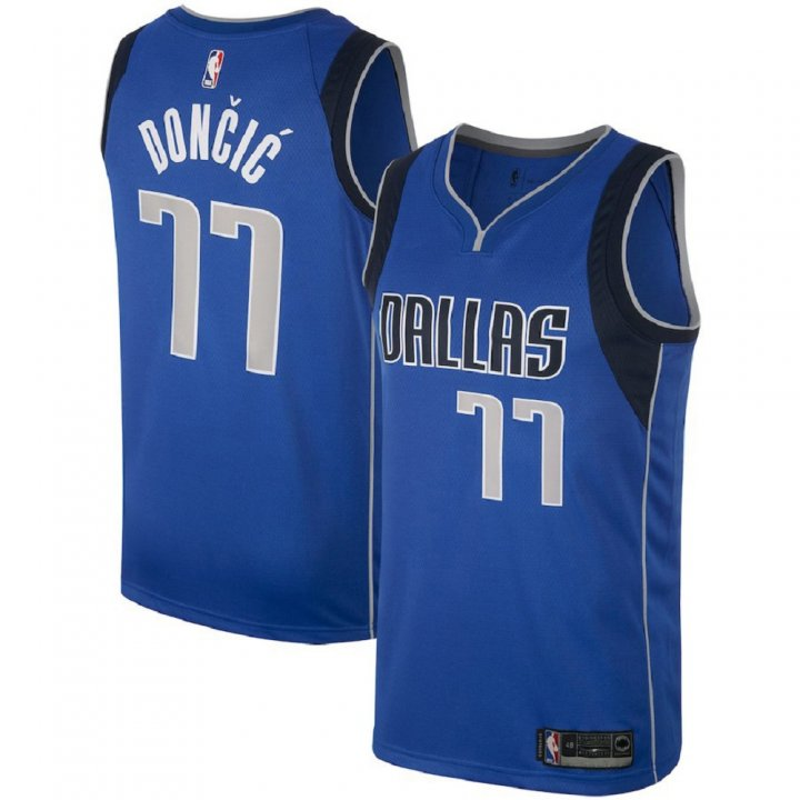 Majestic Athletic Dallas Mavericks #77 Luka Doncic Blue Men's Swingman Jersey