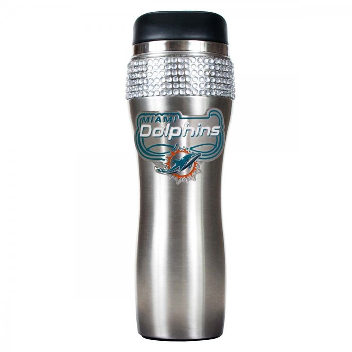 Miami Dolphins Stainless Steel Bling Travel Tumbler (Silver)