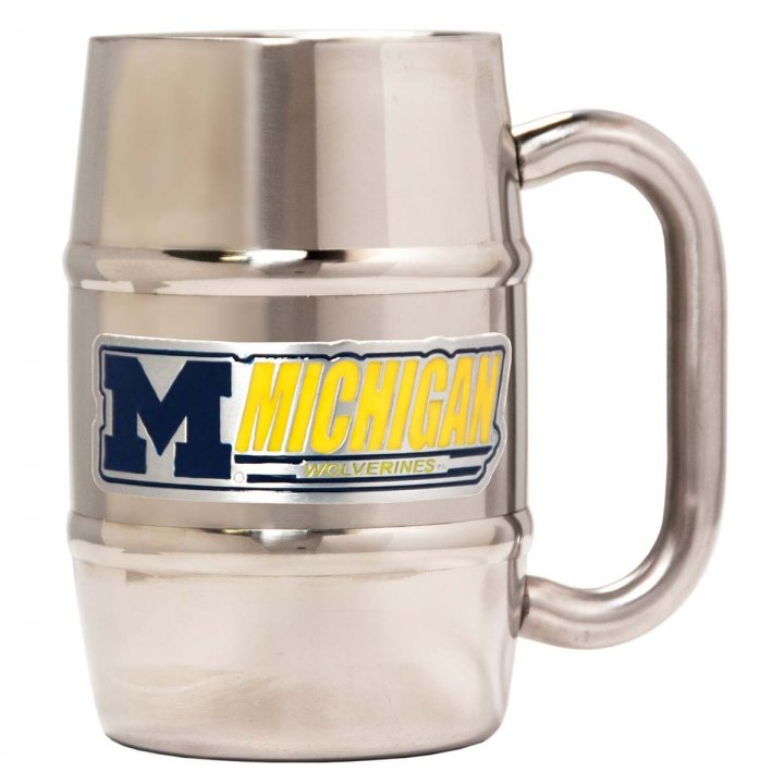 Michigan Wolverines 16 oz Double Wall Stainless Steel Mug (Silver)