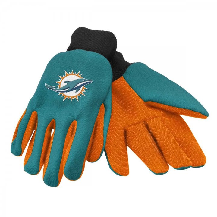 Miami Dolphins Two Color Work Gloves