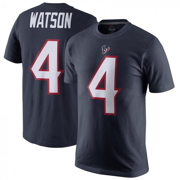 Majestic Athletic Mens #4 Deshaun Watson Houston Texans Player Pride Name & Number T-Shirt - Navy