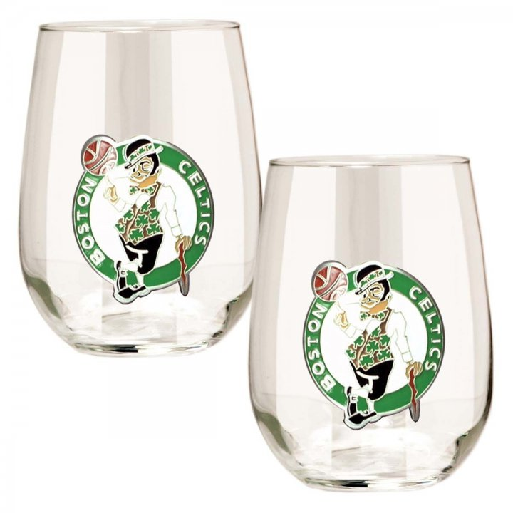 Boston Celtics NBA 2 Piece Stemless Wine Glass Set (Clear)