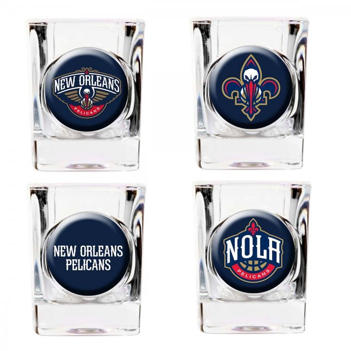 New Orleans Pelicans NBA 4 Piece Collector's Shot Glass Set (Clear)