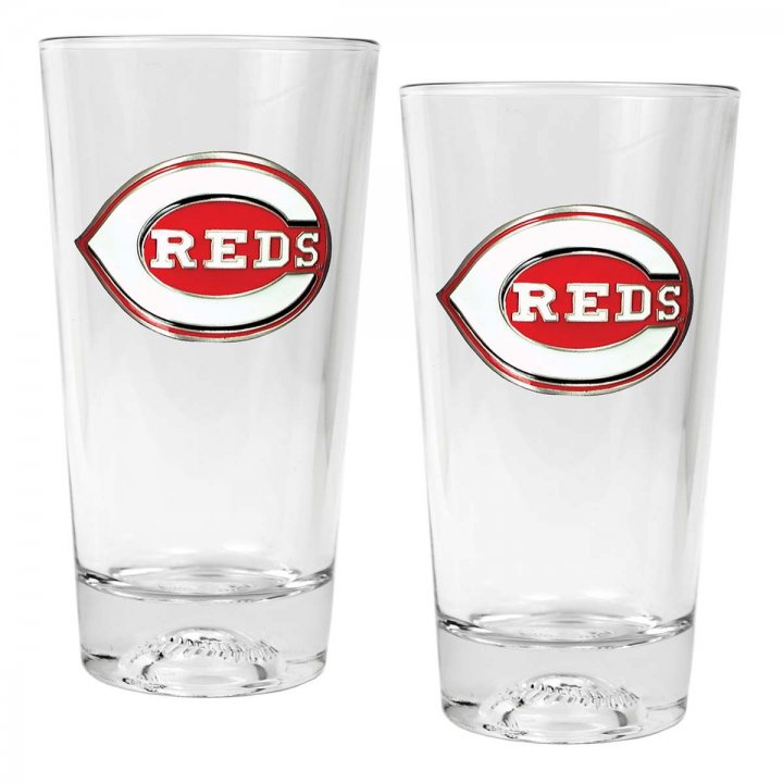 Cincinnati Reds MLB 2 Piece Pint Ale Glass Set with Baseball Base (Clear)