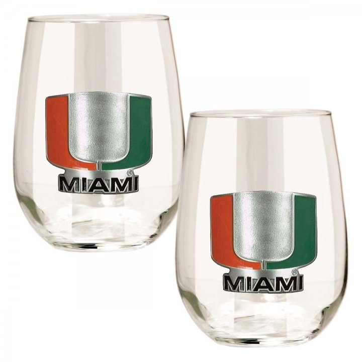 Miami Hurricanes NCAA 2 Piece Stemless Wine Glass Set (Clear)